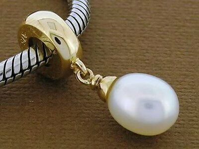 Bd041 - Gorgeous Genuine  9K 9ct Solid Gold Genuine Pearl Drop DANGLE Bead