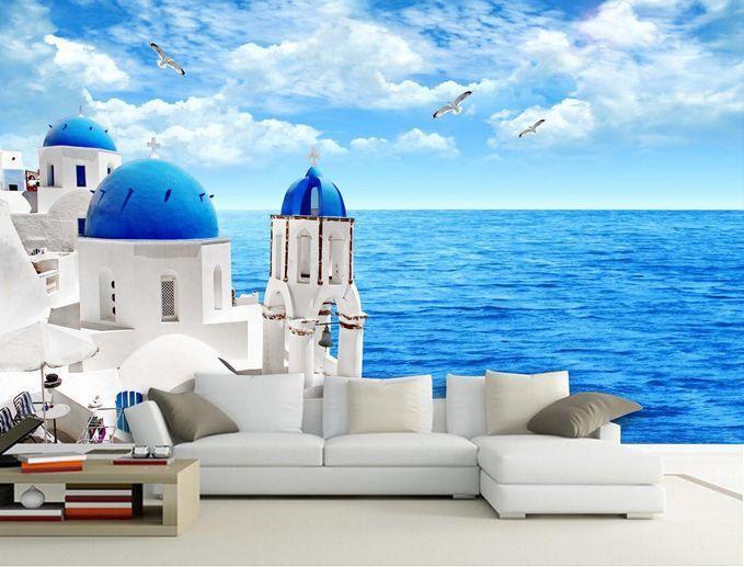 3D IL Mare il Castello Parete Murale Carta da parati immagine sfondo muro stampa