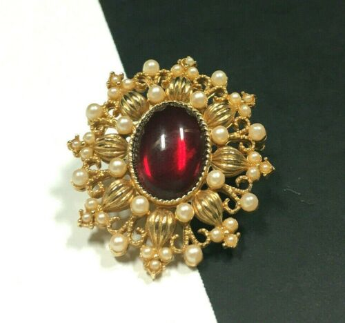 Vintage VICTORIAN STYLE Pearl & Red Cabochon Broo… - image 1