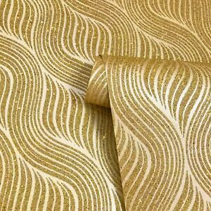 Sparkly-Wave-Mica-wallpaper-wall-coverings-Gold-metallic-Glitter-Vermiculite-3D