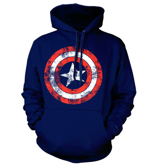 CAPTAIN AMERICA SHIELD Marvel hooded sweat-shirt cotton officially licensed