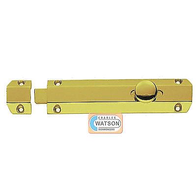 "CARLISLE BRASS AQ82SC 6/"" Satin Chrome Door Surface Bolt Sliding Lock Gliding"