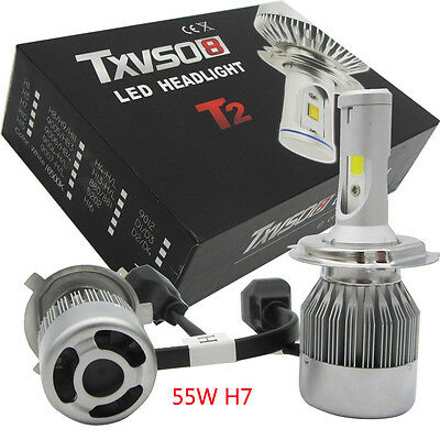 2Pcs 55W 8800LM H7 6000K CREE LED Headlight 12V Car Conversion Bulbs Kit White