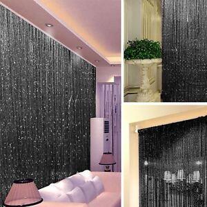 STRING DOOR CURTAIN Crystal Beads Room Divider Black Fringe Wall