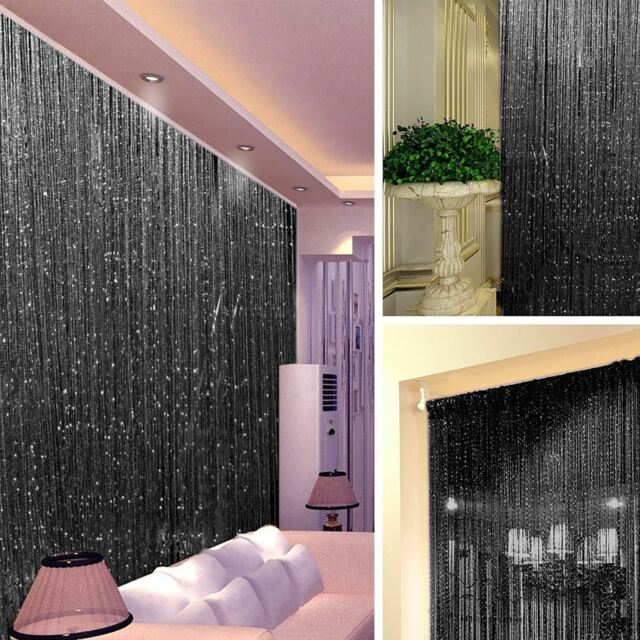 STRING DOOR CURTAIN Crystal Beads Room Divider Black Fringe Wall Window Panel & String Door Curtain Crystal Beads Room Divider Wall Window Panel ...