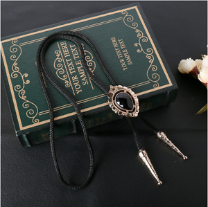 Bolo Tie Wolf Bola Necktie Pendant Braided Shoestring Cord Necklace Western