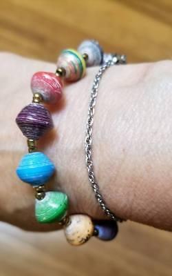 Uganda Recycled Paper Bead Bracelet