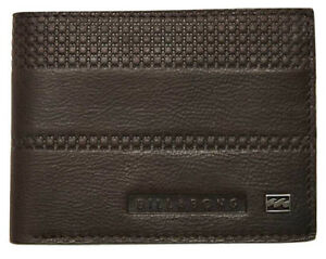 NEW MENS BOYS BILLABONG COVERT CHOCOLATE REAL LEATHER TRI-FOLD FLIP WALLET BROWN