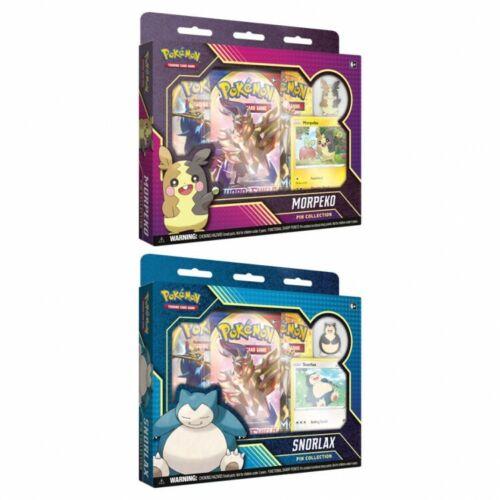 Pokemon TCG Snorlax /& Morpeko Pin Collection Bundle 2 Boxes Sword /& Shield