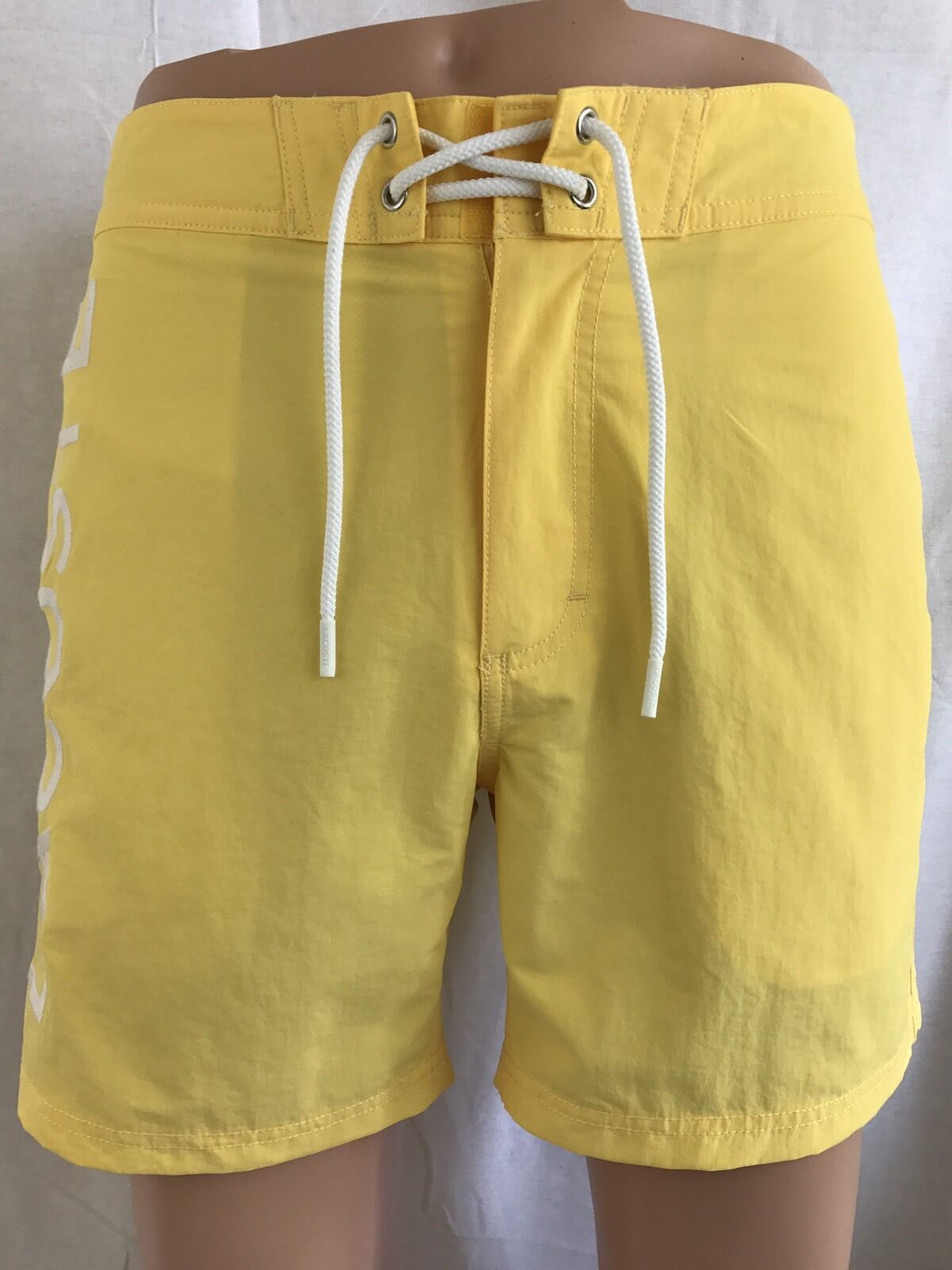 New Lacoste Mens Premium Surf Swim Trunks Board Shorts, Yellow Logo, Size L