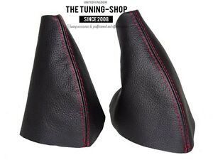 For-MG-MGTF-2000-05-Gear-amp-Handbrake-Boot-Black-Genuine-Leather-Red-Stitching