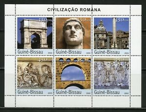 CLOSEOUT SPECIAL GUINEA BISSAU  ANCIENT ROMAN ART  SHEET OF SIX MINT NH
