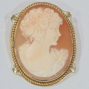Vintage-18K-yellow-gold-large-heavy-shell-cameo-pin-brooch-pendant-Naples-Italy