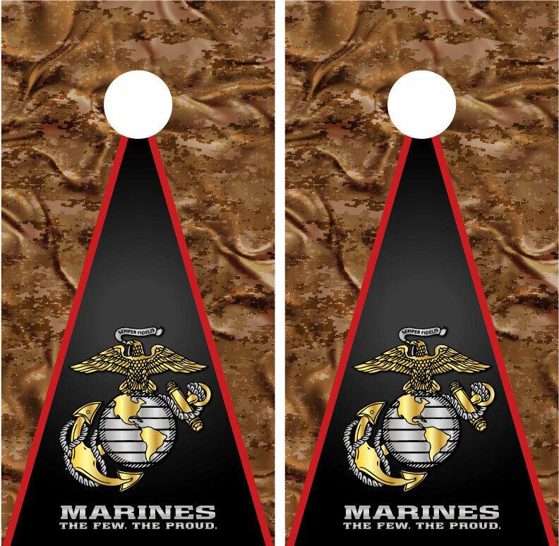 US Marines Digital Desert Camo Military Cornhole Board Decal Wrap Wraps
