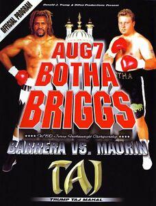* Botha Contre Shannon Briggs Boxe Programme 1999 *