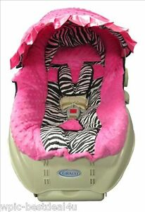 baby infant car seat cover and hood cover bright Dinosaurs with red minky