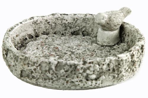 Vogeltränke rund grau mit Dekovogel Kunststein D767951 Gartendeko