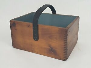 Primative-Wooden-Tool-Box-Nail-Ammo-Tote-w-leather-strap-handle-dovetail-corner