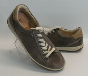 7a750dca7447 Womens ECCO Lace Up Gray Nubuck Sneakers Shoes Size 7 US 38 EUR