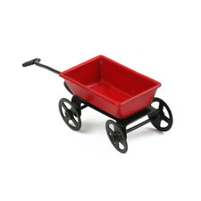 Dollhouse Miniature Metal Red Pull Cart With Wheels 1:12 Scale Fairy Garden \