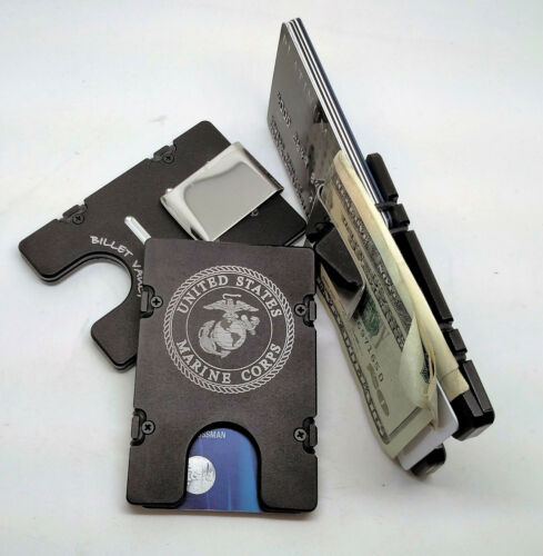 United States Marine Corp,Aluminum Wallet//Credit Card Holder RFID Protection BLK