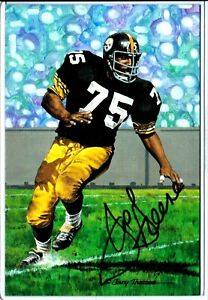 Pittsburgh-Steelers-JOE-GREENE-70-100-autograph-signed-Goal-Line-Art-GOLD-auto