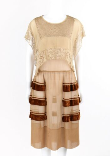 Vintage COUTURE c.1920's Nude Tan Brown Silk Chiff