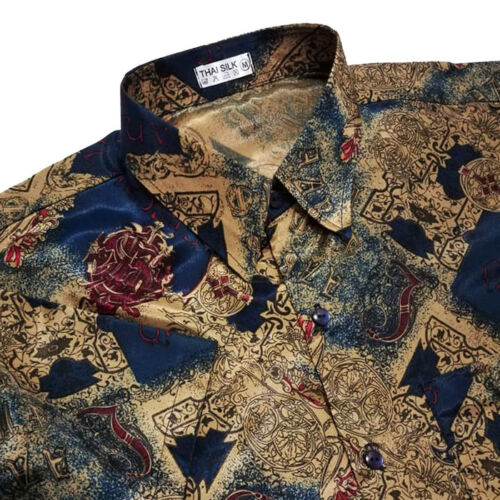 Men/'s Thai Silk Long Sleeve Shirt Casual Paisley Pattern Hawaiian Small to 3XL