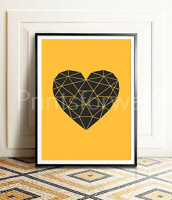 A3//A4 Size Quote Love Heart Mustard Art Wall Deco Inspirational Posters