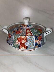 Arita - Japan, vintage Imari fan pattern porcelain, china tureen or covered dish