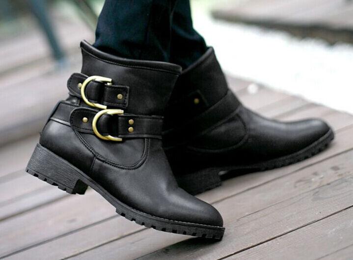 Stiefel Stiefel Komfortabel Militärschuhe Frau Absatz 3 cm Schwarz 8735