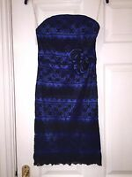 QUIZ LADIES ELECTRIC BLUE & BLACK DESIGN PARTY COCKTAIL DRESS SIZE UK 8 / EUR 36