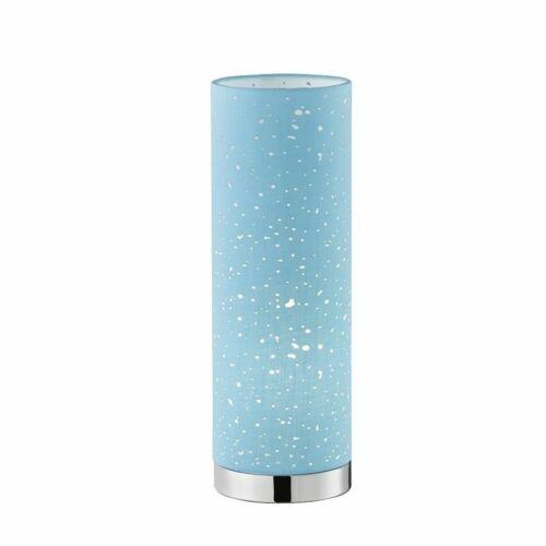 Tischleuchte Honsel Thor 50162 Lampe Stoffschirm Blau Sterndekor Schnurschalter
