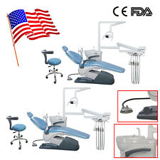 2 Dental Unit Chair Hard Leather Computer Control Dc Motor Chair Stool Sky Blue