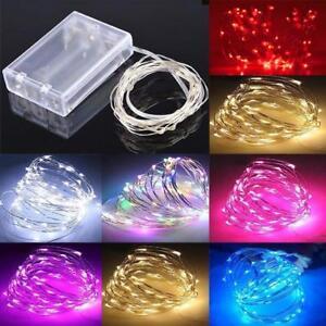 20-50-100-LED-luz-de-bateria-de-Luz-de-Navidad-Hada-Fiesta-de-regalo-de-cuerda-de-alambre-de-cobre