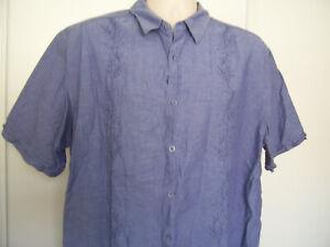Havanera Mens Embroidered Linen Button Up Shirt