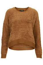 Topshop brown camel fluffy long sleeve faux fur sweater jumper top uk size 12