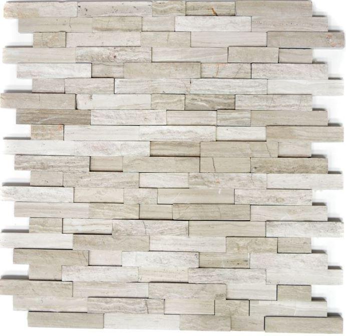 Mosaik Verbund Splitface grau Streifen Fliesenspiegel Küche WC 40-3D20  10Matten