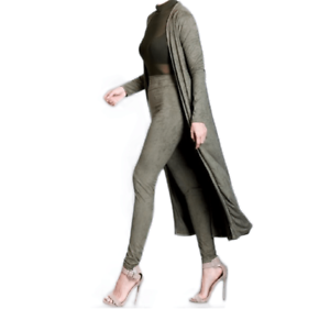 Z-Flanka Suede 2  Piece Trench Coat and High Waist Set  exciting promotions