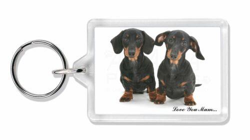 Dachshund Dogs /'Love You Mum/' Photo Keyring Animal Gift AD-DU2lymK