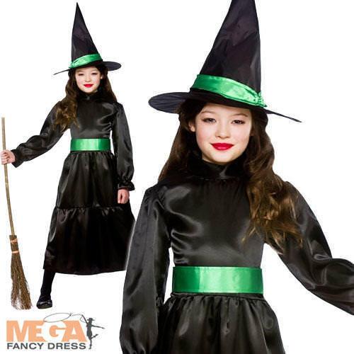 Noir Sorcière Halloween fille fantaisie robe enfants Sorcières Costume