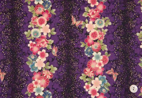 Fabric #2478 Asian Floral Stripe on Dark Purple Gold Metallic  Sold by 1//2 Yd