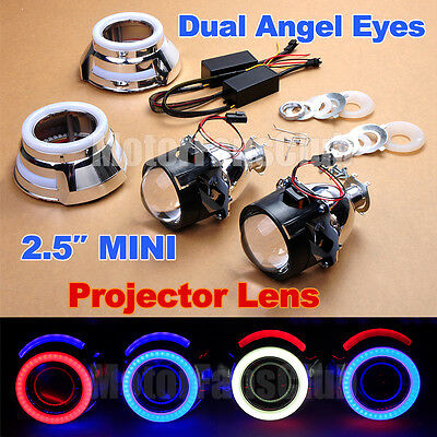 "New Arrival 2.5"" HID Projector Lens Kit Car Headlights LED Dual Angel Eyes Halo"