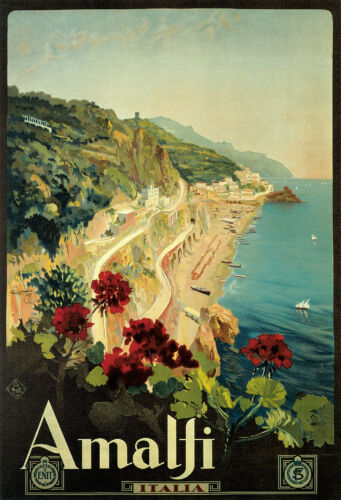 Visit THE AMALFI COAST..ITALY.. Vintage E.N.I.T Travel Poster A1A2A3A4Sizes