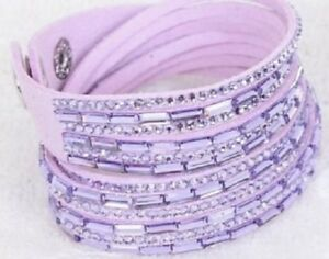 Double Wrap Light Purple Bracelet with Light Purple ...