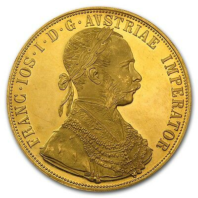 1915 Austrian 4 Ducat Gold Coin - AU or BU