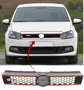 Vw-Polo-Gti-2009-2014-Front-Centre-Main-Grille-With-Red-Trim-amp-Gti-Logo-New