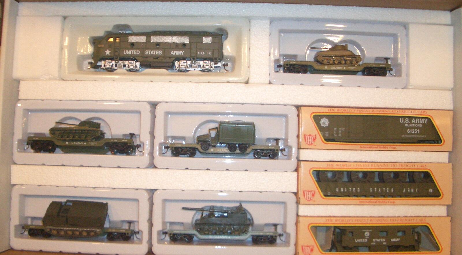 Venta barata Ho Militar Ejército De EE. UU. F-3 Loco & 5 5 5 coches con cargas Train Set US Army Train Set 8  directo de fábrica