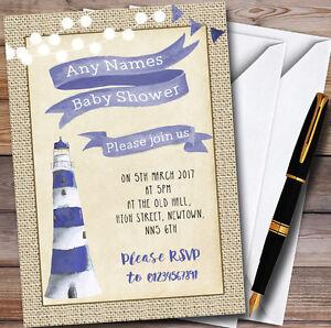 Burlap nautical lighthouse boys personalised baby shower invitations image is loading burlap nautical lighthouse boys personalised baby shower invitations filmwisefo