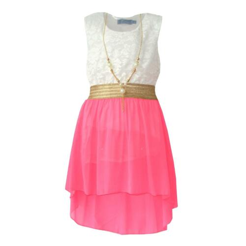 Girls Lace Floral Neon High Low Skater Dress with Necklace Age 2-13 years